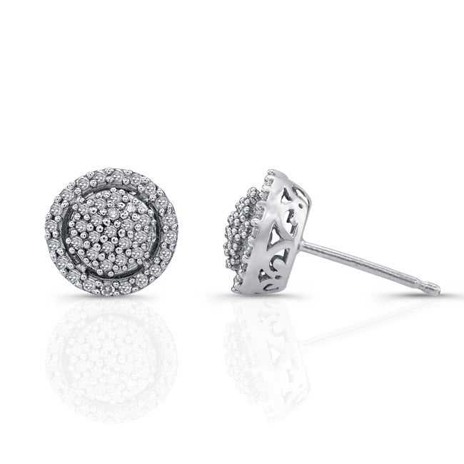 Victoria Kay Sterling Silver 1/4ct TDW White Diamond Halo Earrings