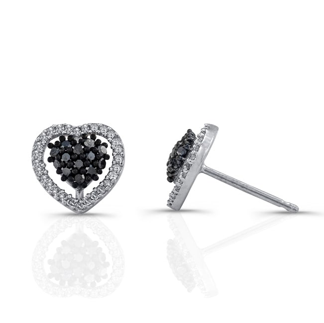 c690a0bd8 Shop Victoria Kay Sterling Silver 1/4ct TDW Black and White Diamond Heart  Earrings - Free Shipping Today - Overstock - 6975999