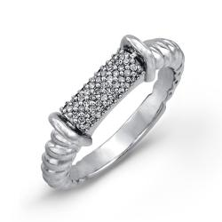 Sterling Silver 1/6ct TDW Diamond Pave Rope Ring (J-K, I2-I3)