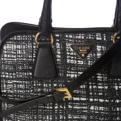 Prada Black/ White Tweed/ Saffiano Leather Tote Bag - Thumbnail 2