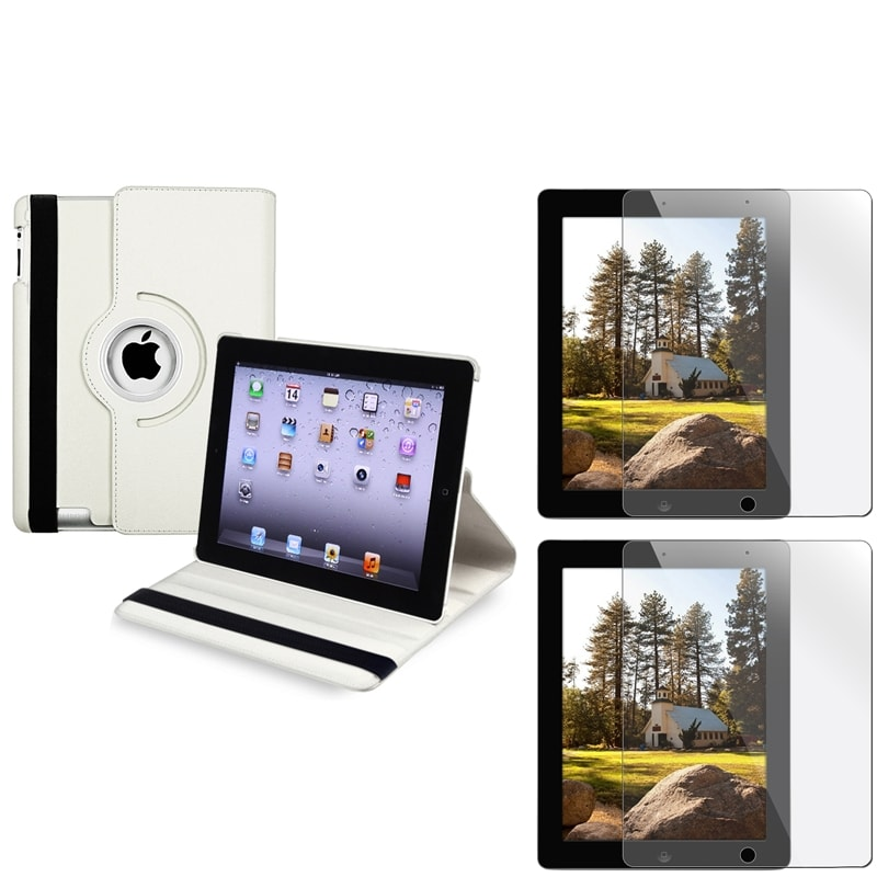 White Leather Swivel Case/ Screen Protector for Apple iPad 3