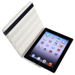 White Leather Swivel Case/ Screen Protector for Apple iPad 3 - Thumbnail 1