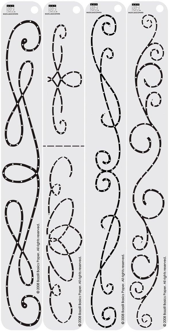 "Bazzill In Stitch'z Border Templates 12""X1.5"" 4/Pkg-Formal Flourishes"