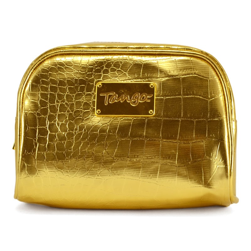 Tango Gold Crocodile Polyester Nylon Scoop Travel and Cosmetics Pouch