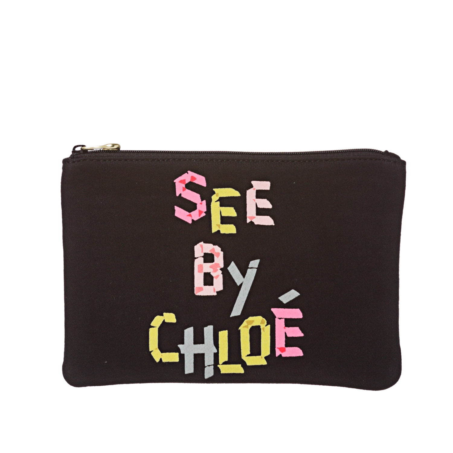 See by Chloe Black Canvas Pouch Clutch