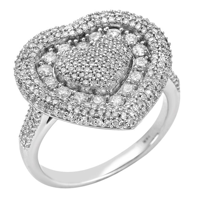 10k White Gold 1ct TDW Diamond Heart-shaped Ring (G-H, SI1-SI2)