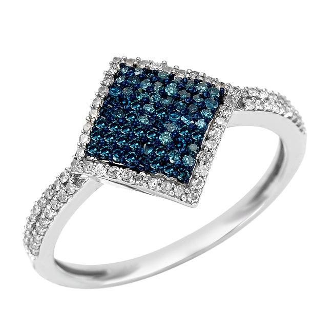 10k White Gold 1/2ct TDW Blue and White Diamond Ring (G-H, I1-I2)