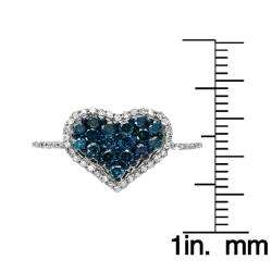 10k Gold 1/2ct TDW Blue and White Diamond Heart Ring (G-H, I1-I2)