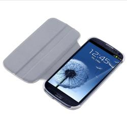 White Leather Flip Case for Samsung Galaxy S III i9300 - Thumbnail 1