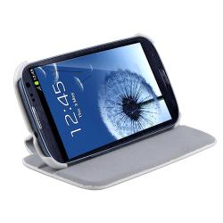 White Leather Flip Case for Samsung Galaxy S III i9300 - Thumbnail 2