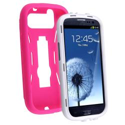 White/ Hot Pink Hybrid Case with Stand for Samsung Galaxy S III i9300 - Thumbnail 2