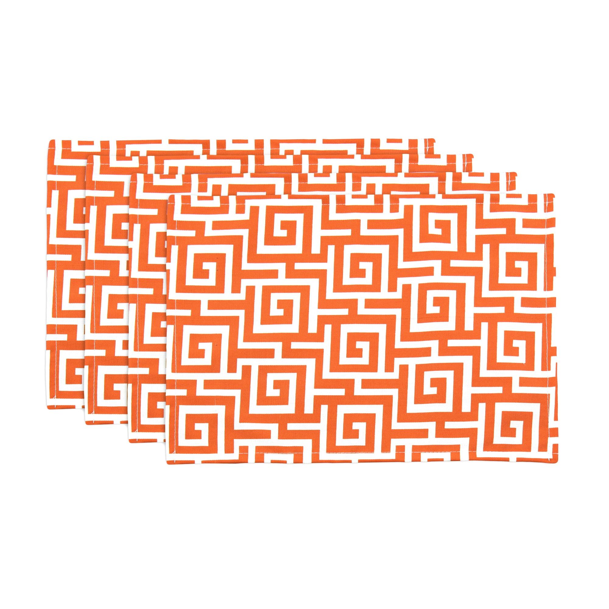 Oskar Terrace Persimmon Orange Geometric Placemats (Set of 4)