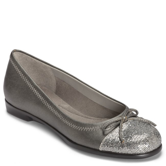 A2 by Aerosoles Sbectrum Silver Combo Ballet Flat