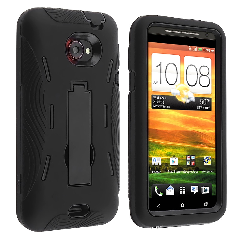 Black Hard/ Black Skin Hybrid Case with Stand for HTC EVO 4G LTE