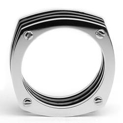 Oliveti Stainless Steel Men's Two-tone Assembled Ring (7mm) - Thumbnail 1
