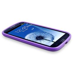 Purple Case/ Protector/ Travel/ Car Charger for Samsung Galaxy S III - Thumbnail 1