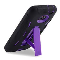 Purple Hard/ Black Skin Hybrid Case with Stand for HTC EVO 4G LTE