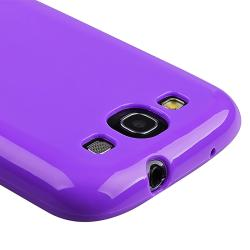 Purple Case/ Protector/ Travel/ Car Charger for Samsung Galaxy S III - Thumbnail 2