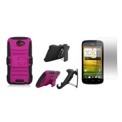 T-Mobile HTC One S / Ville Rubberized Case with Kickstand Belt Clip and Screen Guard - Thumbnail 1