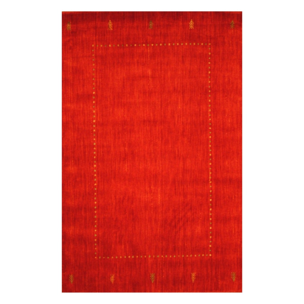 Indo Hand-Loomed Red/Green Gabbeh Traditional Wool Rug (4' x 6')