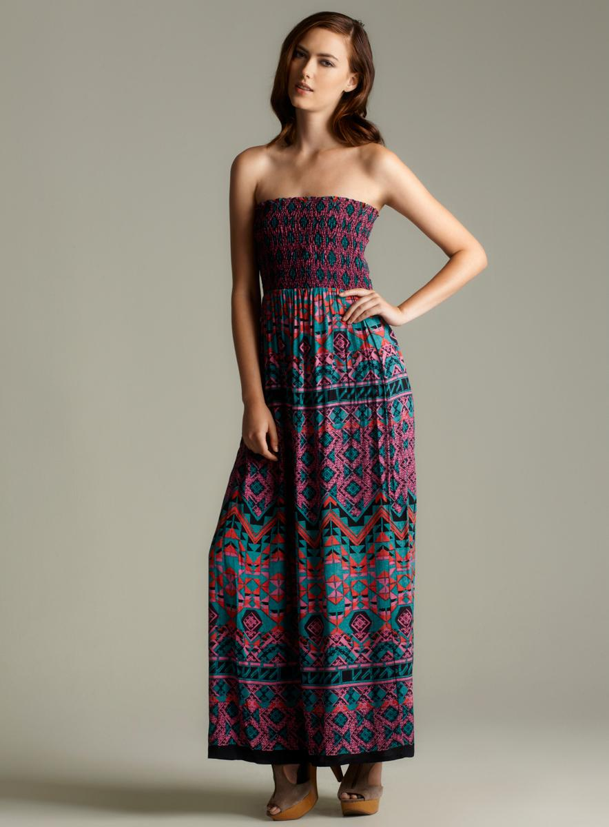 9a249ebb43b Shop Angie Tube Smocked Bodice Maxi Dress - Free Shipping On Orders Over   45 - Overstock - 6985724