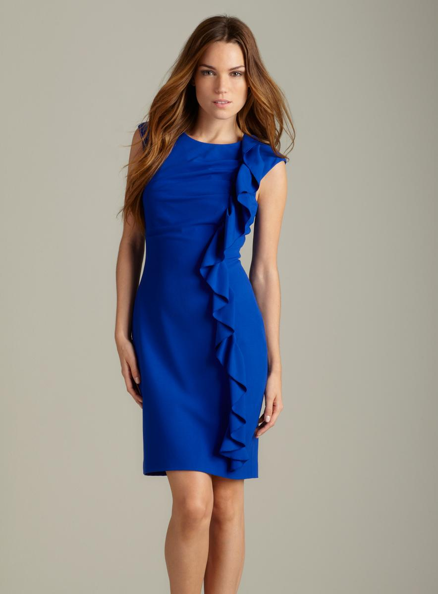 Calvin Klein Luxe Side Ruffle Dress Free Shipping Today
