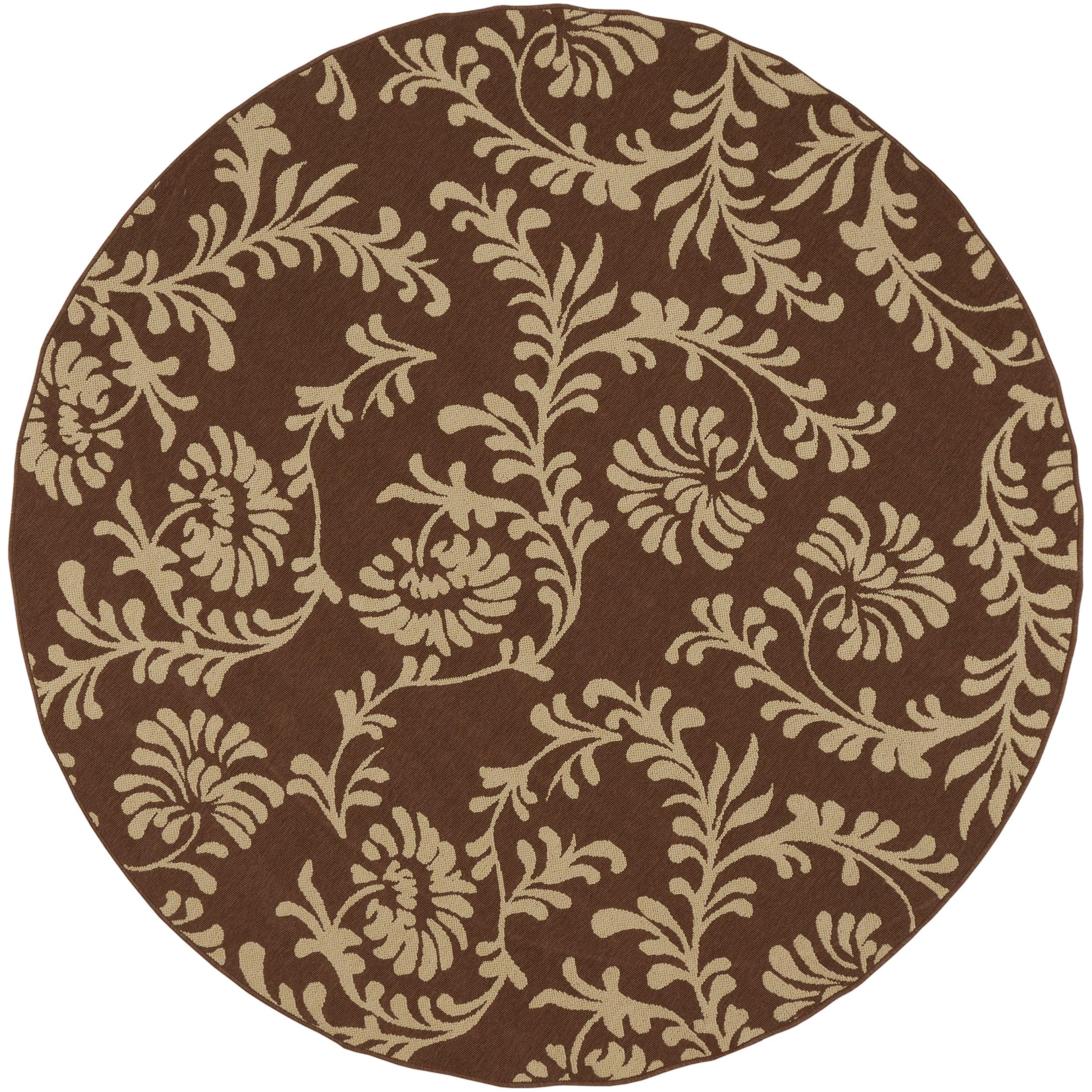 Naples Russet Floral Indoor/Outdoor Rug (7'3 x 7'3)