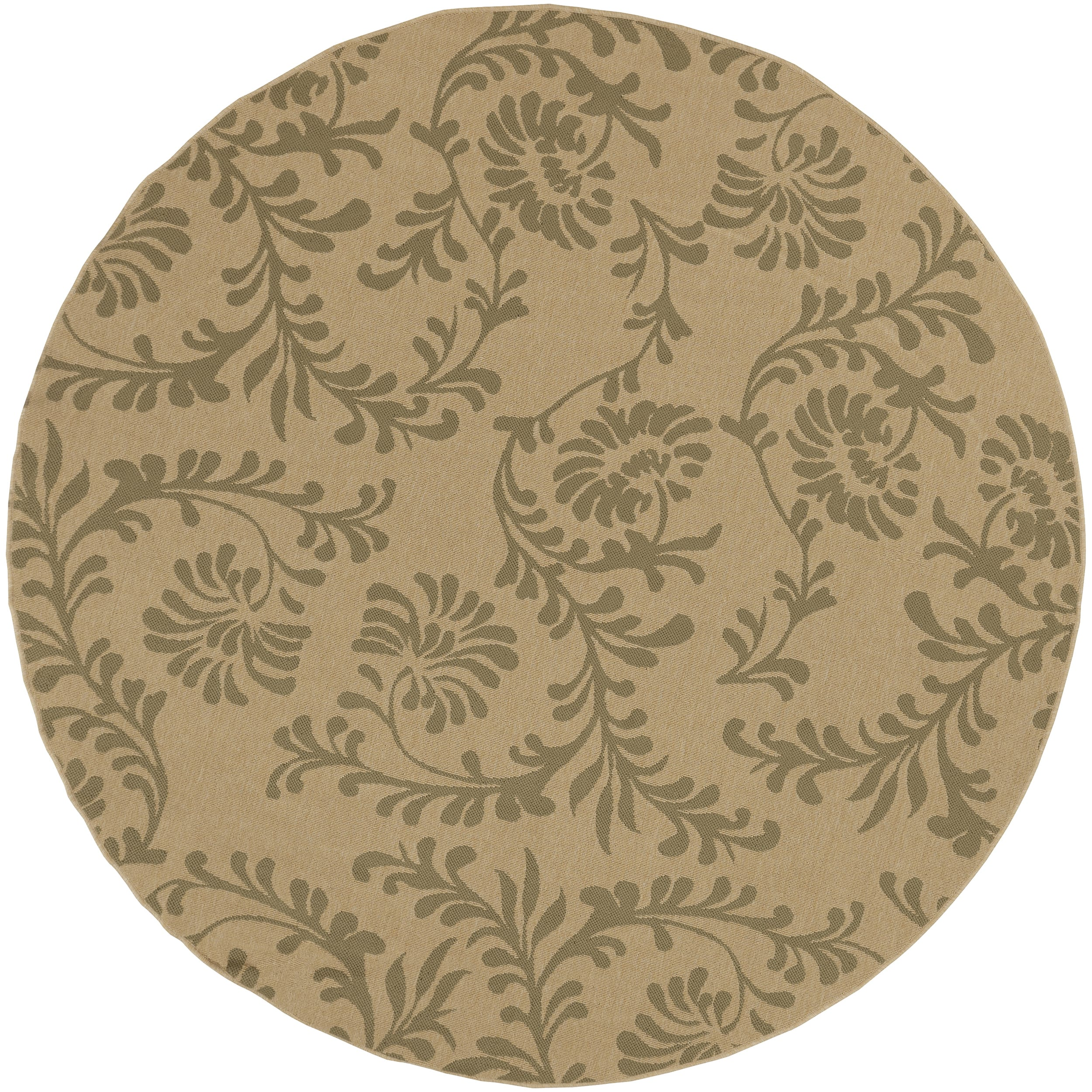 Ardara Khaki Floral Indoor/Outdoor Rug (5'3 x 5'3)