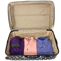 World Traveler Deluxe Polka Dot 3-piece Lightweight Expandable Hardside Spinner Luggage Set With TSA Lock