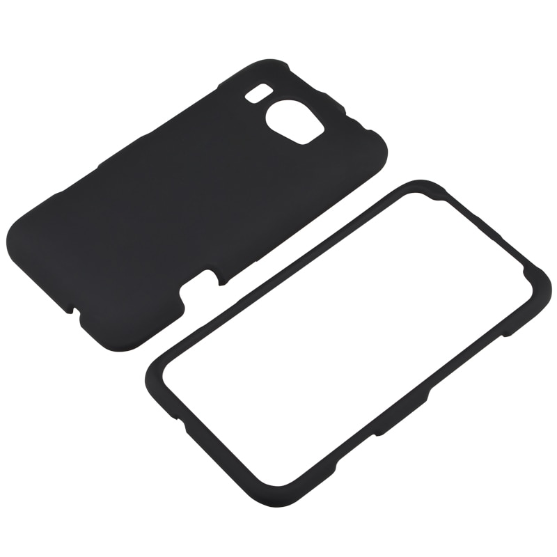 Black Snap-on Rubber Coated Case for HTC Titan II