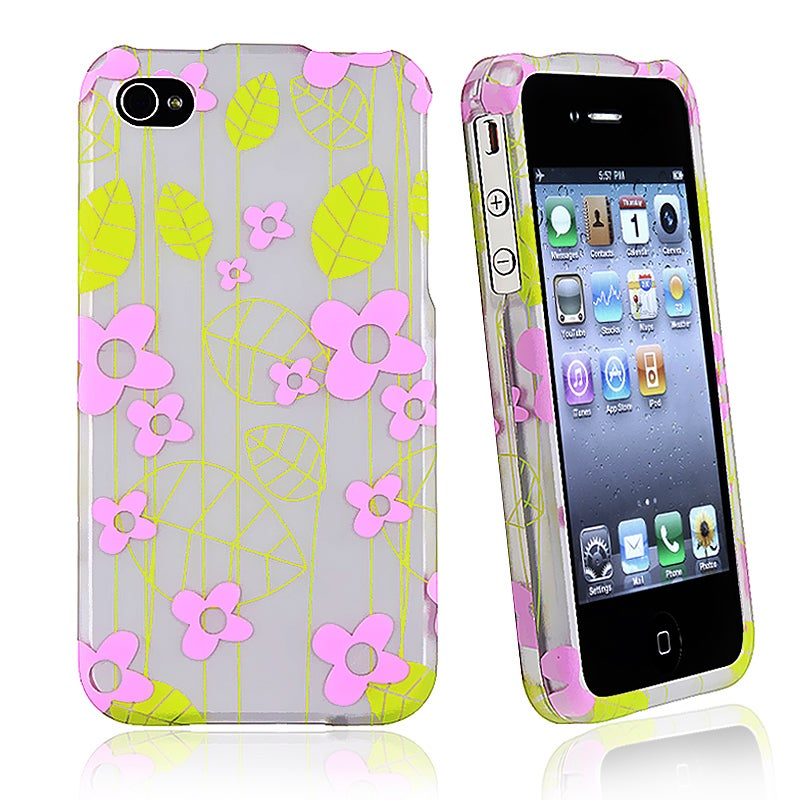 Green Leaf/ Pink Flower Rubber Coated Case for Apple iPhone 4/ 4S