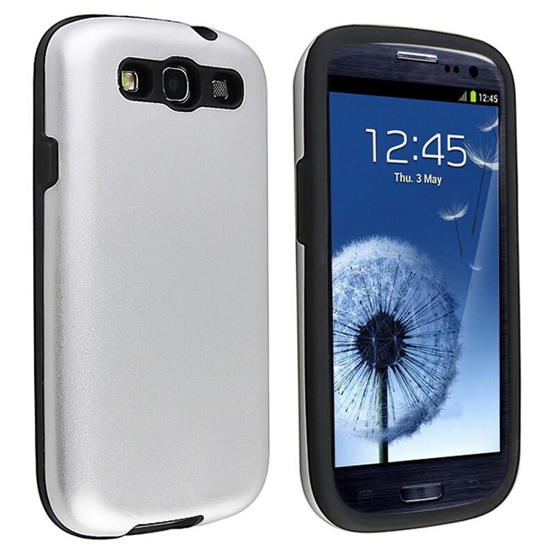 Black/ Silver Hybrid Case for Samsung Galaxy S III