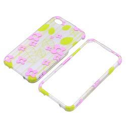 Green Leaf/ Pink Flower Rubber Coated Case for Apple iPhone 4/ 4S - Thumbnail 1