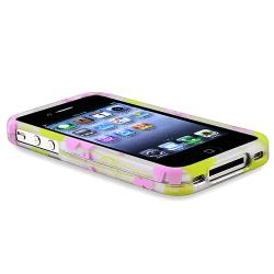 Green Leaf/ Pink Flower Rubber Coated Case for Apple iPhone 4/ 4S - Thumbnail 2