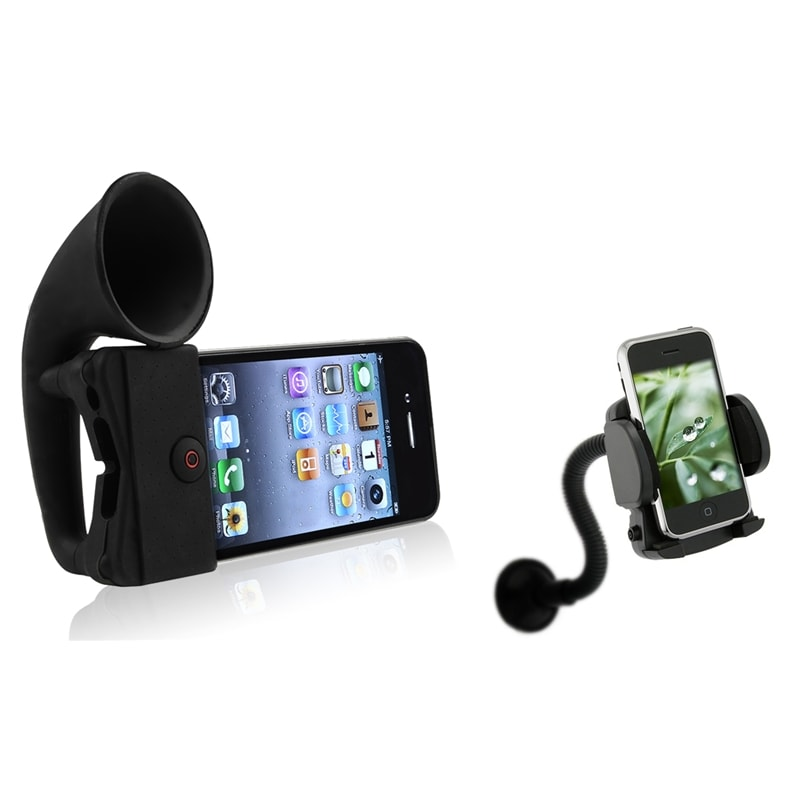 Black Horn Stand Speaker/ Windshield Mount for Apple® iPhone 4/ 4S