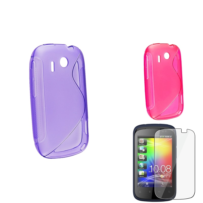Purple/ Hot Pink S Shape TPU Case/ Screen Protector for HTC Explorer