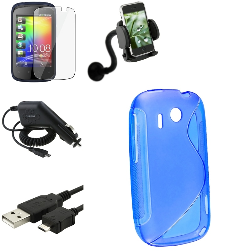 Blue Case/ Screen Protector/ Charger/ Cable/ Mount for HTC Explorer