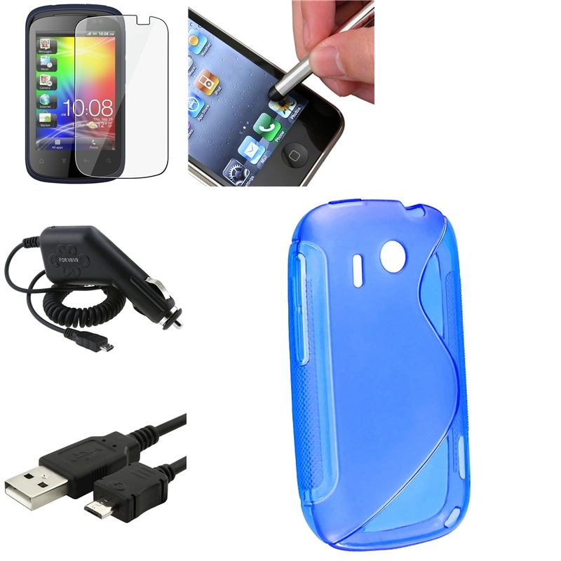 Blue Case/ Screen Protector/ Charger/ Cable/ Stylus for HTC Explorer