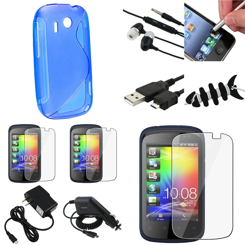 Blue Case/ Screen Protector/ Chargers/ Wrap for HTC Explorer