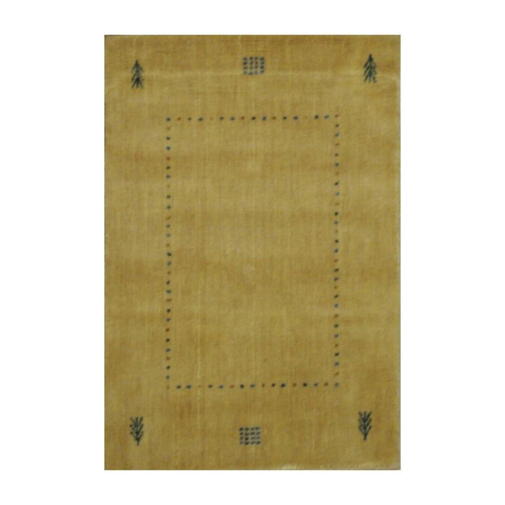Indo Hand-loomed Beige/ Green Gabbeh Wool Rug (2' x 3')