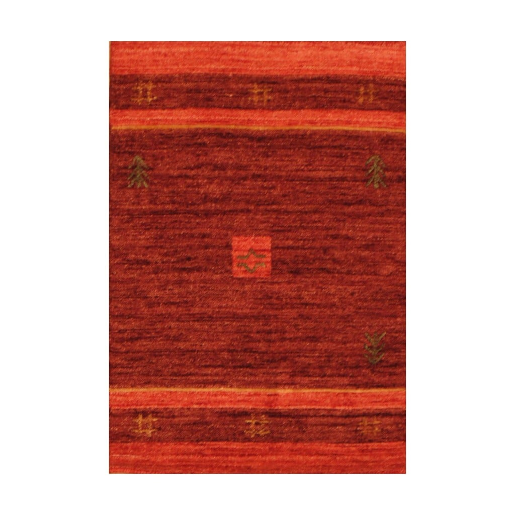 Indo Hand-loomed Burgundy/ Red Gabbeh Wool Rug (2' X 3')
