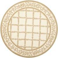 Safavieh Hand-hooked Trellis Ivory/ Beige Wool Rug (8' Round) - 8' Round