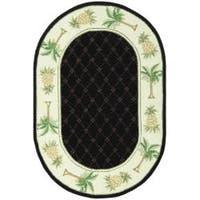 "Safavieh Hand-hooked Pineapples Black Wool Rug - 7'6"" x 9'6"" oval"