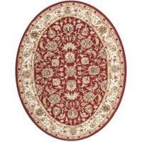 "Safavieh Hand-hooked Chelsea Tabriz Burgundy/ Ivory Wool Rug - 7'6"" x 9'6"" oval"