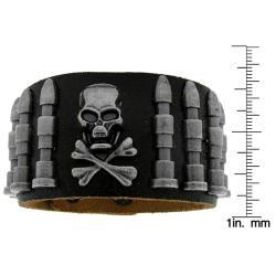 Genuine Black Leather and Brushed Silvertone Skull Accent Bracelet