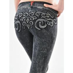 Tabeez Women's Scroll Mineral wash Yoga Pants