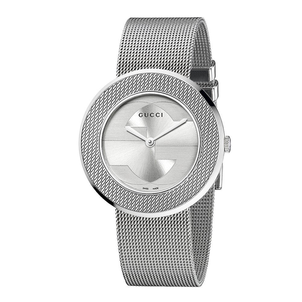 f2d32eff0ff Shop Gucci Women s  U-Play  Medium Stainless Steel Mesh Watch - Free  Shipping Today - Overstock - 6996524