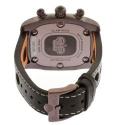 Glam Rock Unisex 'Gulfstream' Brown/Orange Nappa Leather Watch - Thumbnail 1