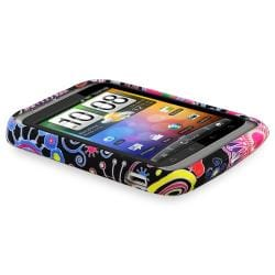 Black/ Colorful Flowers TPU Case/ Screen Protector for HTC Wildfire S
