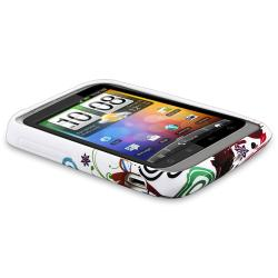 White/ Colorful Flowers TPU Case/ Screen Protector for HTC Wildfire S